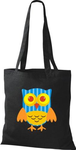 Tragetasche mit Owl Karos niedliche schwarz Farbe diverse streifen Punkte Retro Eule Bunte Stoffbeutel xqOCt4