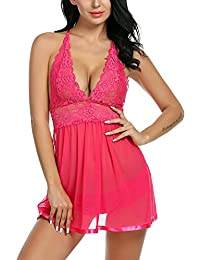 Kinikiss Donna Babydoll Sottoveste Lingerie Lace Donne Floreale Intimo  Breve Notte 689c04c7bc66