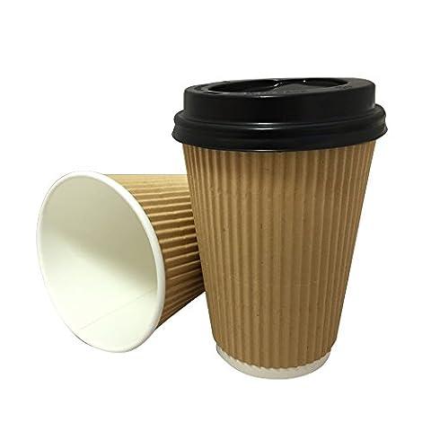 100X 350g Kraft Triple Ripple mur papier jetables café thé