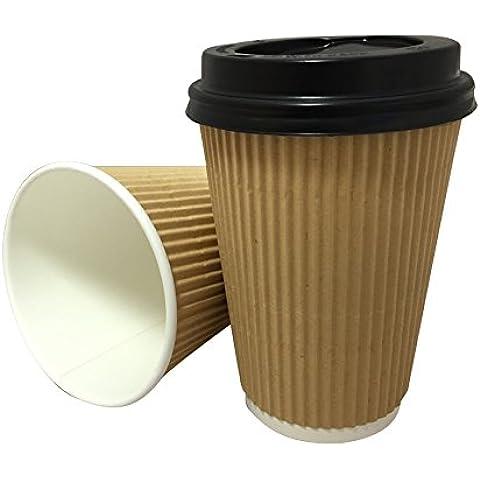 Ripple, 50x 340Belgravia Kraft carta da parete USA e getta per tè, caffè cappuccino bevande calde tazze e coperchio nero