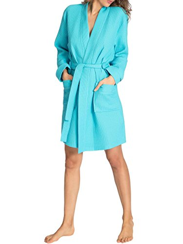 Taubert Thalasso Soft Piqué Kurz-Kimono, Länge 100cm Damen Atoll Blue