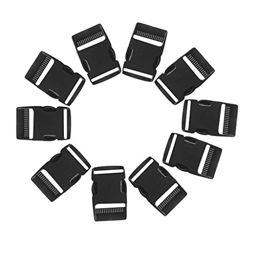 41W40CgktaL. SS500  - MagiDeal 10 Pieces Black 50mm 2'' Contoured Side Release Buckles for Paracord Bracelets Dog Collar, Webbing Strap Clasps Quick Release Buckle