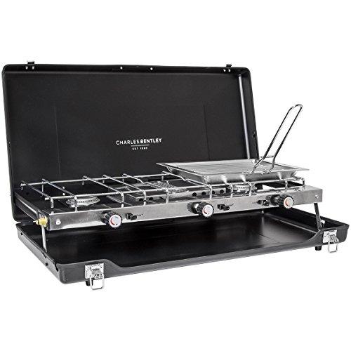 Charles Bentley - Mobiler Gasgrill für Picknicks & Camping - 2 Brenner - kompakte Größe - 1,5 kW