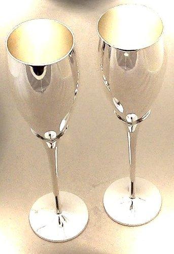 ThePresentStore - Calici da vino/champagne a stelo lungo placcati argento,
