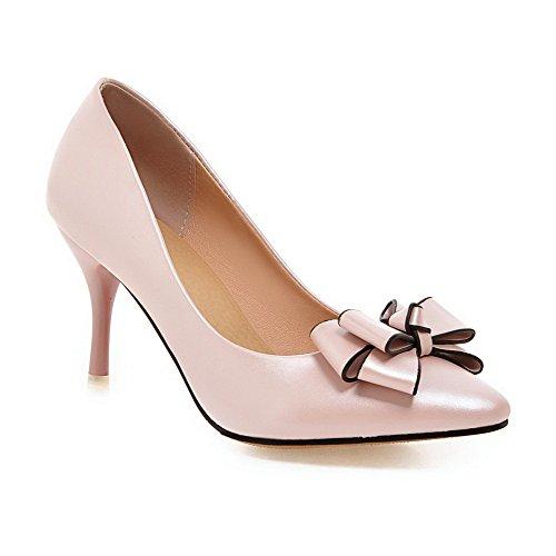 AgooLar Damen Stiletto Rein Weiches Material Spitz Schließen Zehe Pumps Schuhe, Pink, 35