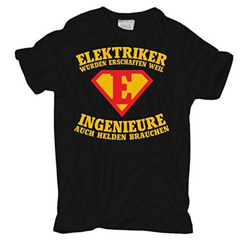 Männer und Herren T-Shirt ELEKTRIKER wurden erschaffen Schwarz