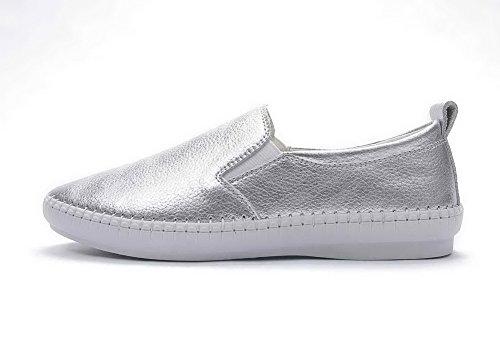 Adee Damen Synthetik Leder Pumpen Schuhe Silber
