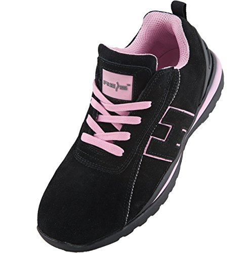 Scarpe da lavoro scarpe antinfortunistica Argentina, taglia 36 – 41, Scarpe antinfortunistica, scarpe da donna punta in acciaio., nero (Schwarz-Pink), 39