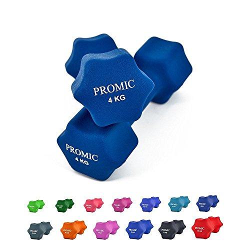 PROMIC Neopren Hanteln Gewichte für Gymnastik Kurzhanteln- ideal für Aerobic & leichtes Fitnesstraining, 13 verschiedene Gewichte und Farben zur Auswahl (2er-Set), 2 x 4 kg, Marine