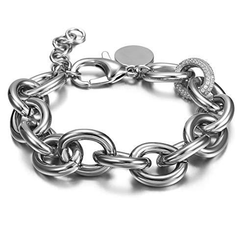WISTIC Damen Armband mit Funkeln Kristall Armreif Verstellbar Geburtstag Geschenk , White  - Ring Und Silber Armband Für Männer