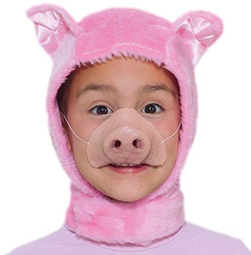Zauberclown Schweine Mütze mit Nase für Kinder, Rosa