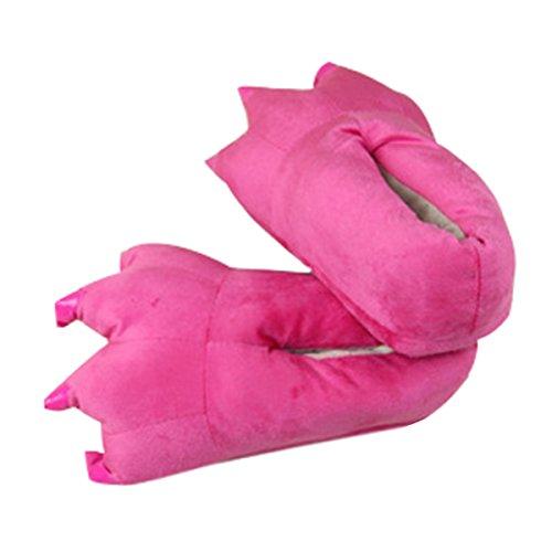 CuteOn Unisex Morbido Peluche Cartone animato Inverno Pantofole Cosplay Costume Animale Zampa Artiglio Scarpe Rosa Rojo