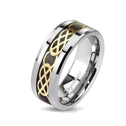 Coolbodyart Tungsten Ring 8 mm larga colore argento oro nero collegamento Carbon alla buca 8 mm di larghezza (19) - 60 misure 69 (22), Tungsteno, 21, cod. CBAR-TU-213-8-10