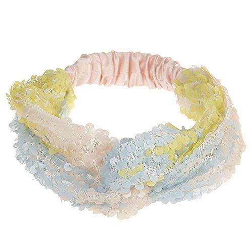Dehnbar Haarband Weiche Turban-Kopf-Verpackungs Frauen Doppel Farbe Pailletten Yoga Stirnbänder Elastic Run head Haarschmuck -