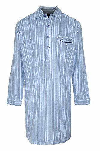 New Mens CHAMPION Striped Brushed Cotton Knee Length Long sleeved Button Front Nightshirt Nightwear Sleep or Lounge Wear. Light-Blue M