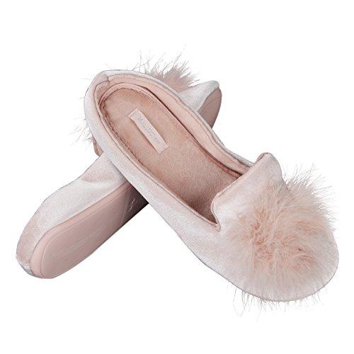 CHICLILY Damen Gemütlich Öffnen Zehe Haus Hausschuhe Ball Schuhe Pink