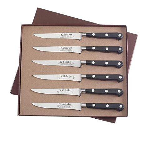 K Sabatier - Coffret De 6 Steaks 13 Cm K Sabatier - Gamme Authentique - Acier Inoxydable - Manche Noir - 100% Forge - Entièrement Fabrique En France