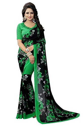 Macube women New Designe Georgette saree with blouse piece(Multi_color_free_size) (Green)