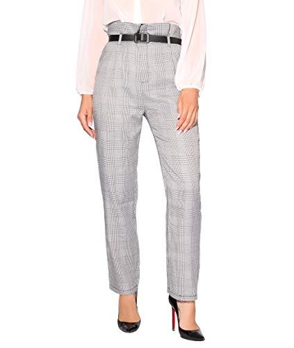 KRISP 2746-GRY-10 Pantalones Tela Cuadros