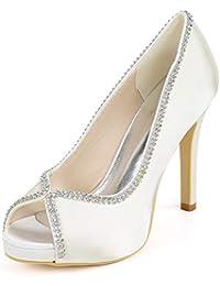 Elobaby Mujer Zapatos De Boda Peep Toes Flores Rhinestone Verano Tacones  Altos TamañO Toe Kitten Ten 83775187df0