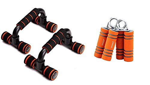 Wolphy 2 in 1 Fitness Accessories Push-up Bars + Foam Hand Strengthener Grip Forearm Exerciser Gym & Fitness Kit