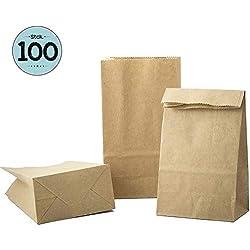 100 Pcs Sachet Courses alimentaires en Papier Kraft 9 x 16 x 5 cm Sac d'Emballage Biodégradable pour Bonbons en a Vrac, Pochette petits cadeau Kit Patisserie contenant dragées bapteme mariage Marron
