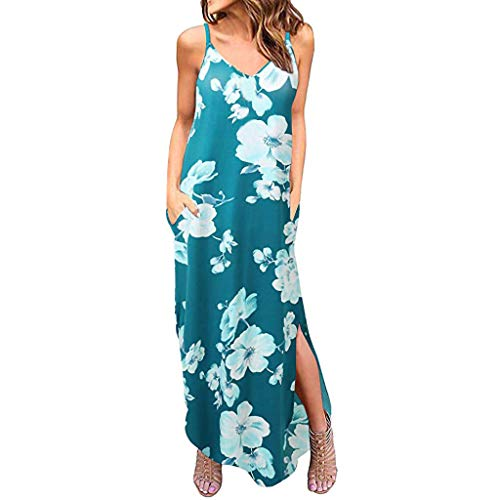 Clacce Damen V-Ausschnitt Sommerkleid Blumen Maxikleid Ärmellos Strandkleid Boho Lange Kleid Partykleid mit Taschen