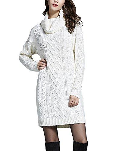 Damen Strickkleid Pullover lang Rollkragen Häkeln Kabel Twist Weiß EU Gr. M