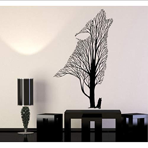 Wsxwga Moderne Vinyl Wandtattoos Baum Howling Wolf Rabe TiereStil Wandaufkleber Steuern Dekor Wohnzimmer 53 * 89 Cm (Raben Jugend)