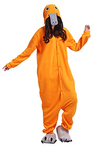 Pijama Animados Kigurumi Cosplay Ornitorrinco Naranja Animal para Adulto Unisex
