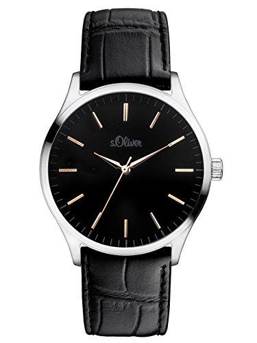 s.Oliver SO-3052-LQ - Reloj para hombres, correa de cuero color negro