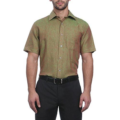 Raymond Men Green Linen Shirts