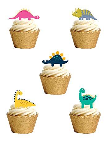 24 Packung mit niedlichen Dinosaurier Cartoon-Stil Cake Topper aufstehen Premium essbare Wafer Papier Kuchen Topper Geburtstag Party Hochzeit von oben, dass (Cake Topper Essbar)