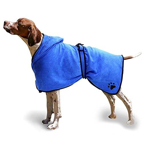 ubest Mikrofaser Hunde Bademantel, schnell trocknende und wasserabweisende Haustier Doggy Bad Handtuch, für Alle Größe Hunde und Katzen