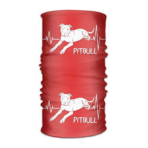 Hipiyoled Pitbull Dog Puppy Heartbeat Design Headband Headwrap Adult Headwear Magic Head Scarf Bandana Neck Scarf Quick Dry Do Rag Cap Travel Face Mask Neck Gaiter Scrunchy Headdress Face Snap
