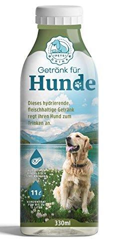 Hunde müssen trinken   PETS DRINK®, Getränk für Hunde, Hundegetränk   Zusatz zum Wasser, damit Ihr Hund mehr trinkt   Aus frischem Fleisch und Knochen gewonnen   Regt Hunde zum Trinken an   Flasche reicht für etwa 11 Liter Wasser   Hund gesund ernähren: + enthält viele natürliche Mineralstoffe