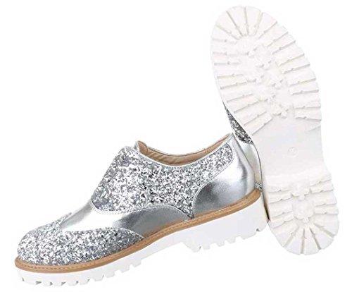 Damen Halbschuhe Slipper Schuhe Schwarz Gold Silber 36 37 38 39 40 41 Silber