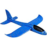 Newin Star Juquete Lanzar Aeroplano de la Espuma 2 Modo de Vuelo Mano Lanzamiento del Plano del Planeador inercia avión Azul Niños Ourdoor Deportes de Juguete de Regalo (Big 19 Pulgadas)