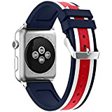 Apple Watch Band, Enow Soft Silicone Replacement Sports Wristband Strap For 38mm Apple Watch Series 3 Series 2 Series 1 Sport And Edition, Red&White&Midnight Blue