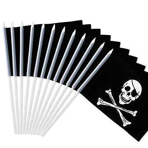Anley? Pirata Bandera con Asta, Jolly Roger 12x20 cm Mini Bandera...