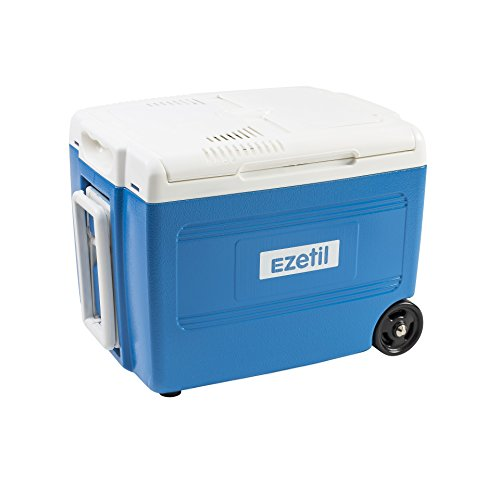 EZetil Elektrische Kühlbox E 40M 12/230V – 37 Liter mit Trolleyfunktion, ideal für Grill-Ausflüge, zum Picknick oder Outdoor-Veranstaltungen, Energieeffizienzklasse A++, Stahlblau, 37L