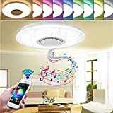 36W Dimmable Flush Mount LED Ceiling Light Music Pendant Lamp with Bluetooth Speaker