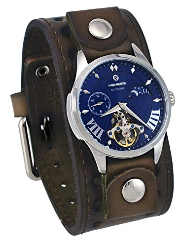 Nemesis GBSTH511L Men's Open Heart Tourbillon Moon Phase Wide Leather Band Automatic Watch