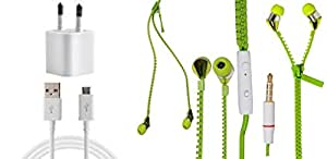 JIYANSHI Combo of 2A Wall Chager/Portable Charger/Mobile Charger & Wired In-ear Headphone/Earphone Zipper (Green) Compatible for Compatible for HTC Desire X
