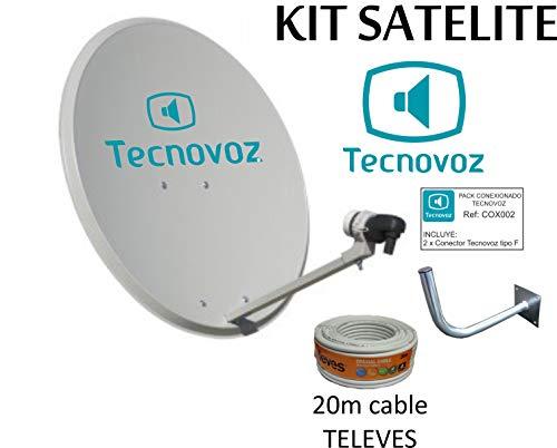 Kit Antena PARABOLICA 60cm Marca TECNOVOZ + Soporte