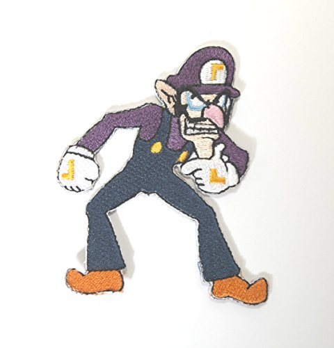 Waluigi Patch Embroidered Iron on Badge Aufnäher Kostüm Fancy Kleid Kart/SNES/Mario World/Super Mario Brothers/Mario Allstars (Kostüm Wario Kart)