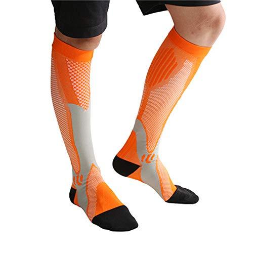 trümpfe Kompressionssocken Thrombosestrümpfe Männer Frauen Beinstütze Atmungsaktive Stretch Unterhalb Knie Fußball Socken Sport Active Orange L-Xl ()