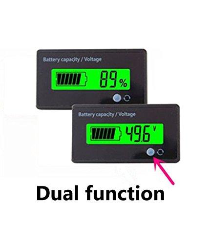 Battery Meter (Multifunktional Akku Kapazität Monitor 48V LCD Akku Fuel Gauge Indikator Meter für Blei-Säure Batterie Motorrad Golf Cart Auto, grün)