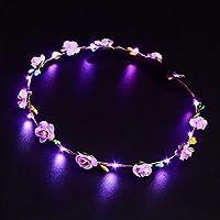 LED corona que brilla intensamente corona de la flor banda de pelo boda Floral Garland Festival tocado de la flor accesorio del pelo del festival