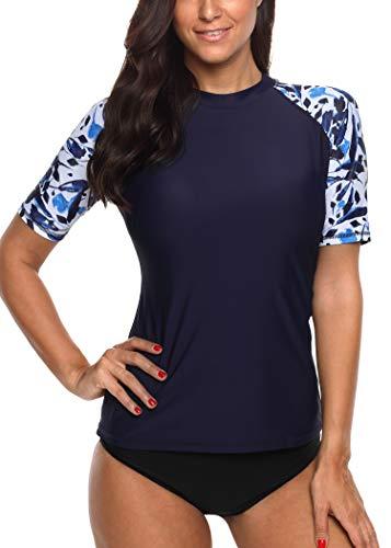 BeautyIn Damen UV Badeshirts Frauen Rash Guard Schwimmshirts Kurzarm UPF Schutz M